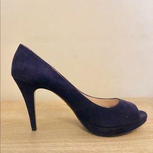 Navy suede Prada peep toe heels